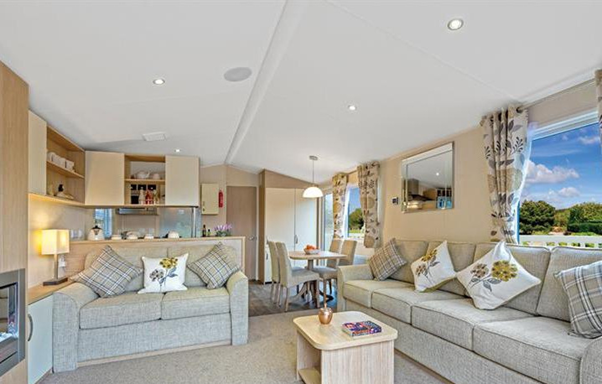 The interior of one of Brickyard Lakes' caravans, perfect for your caravan holidays in Yorkshire!