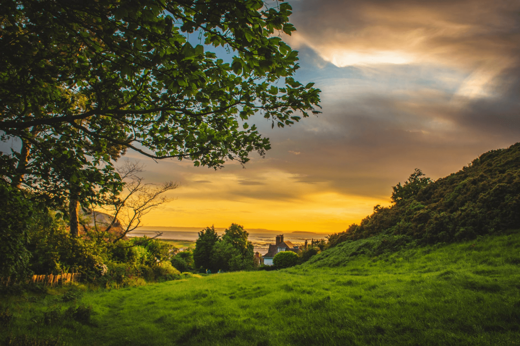 A sunset view over North Yorkshire hills near Brickyard Lakes to represent owning a caravan in winter.