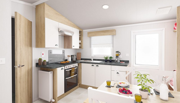 A kitchen in one of Brickyard Lakes's holiday homes, ideal for your North Yorkshire caravan holidays