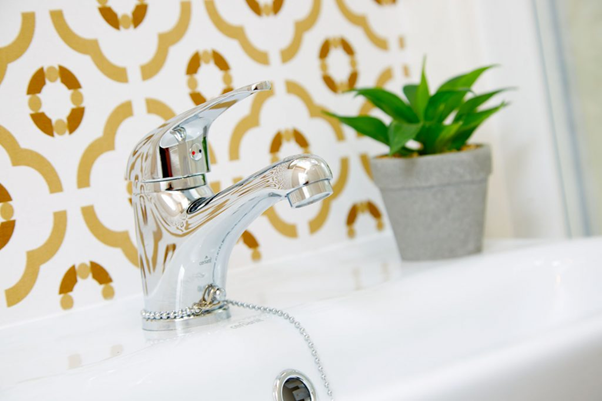 Bathroom tap with a plant in the background in a holiday lodge in North Yorkshire at Brickyard Lakes